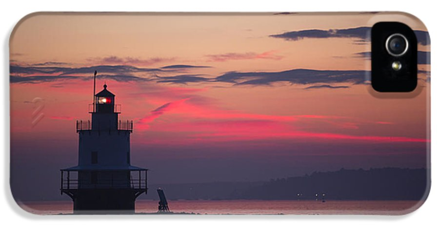 Lighthouse; Spring Point Lighthouse; Sunrise; Maine; Morning; Vibrant Color; Beacon; Beautiful; Ocean; Casco Bay; Clouds; Water IPhone 5 Case featuring the photograph Sunrise At Spring Point Lighthouse by Diane Diederich