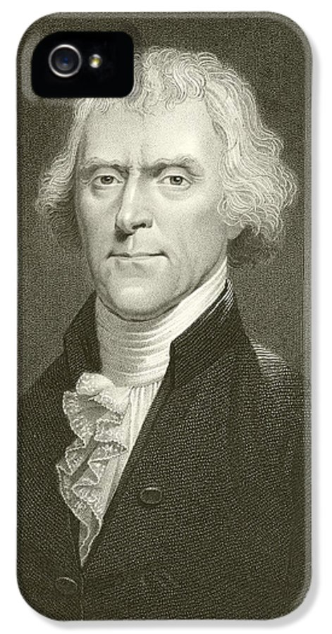 Thomas Jefferson IPhone 5 Case featuring the drawing Thomas Jefferson by English School