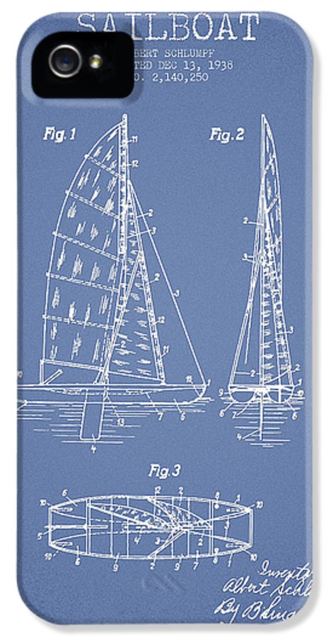 Sailboat IPhone 5 Case featuring the drawing Sailboat Patent Drawing From 1938 by Aged Pixel