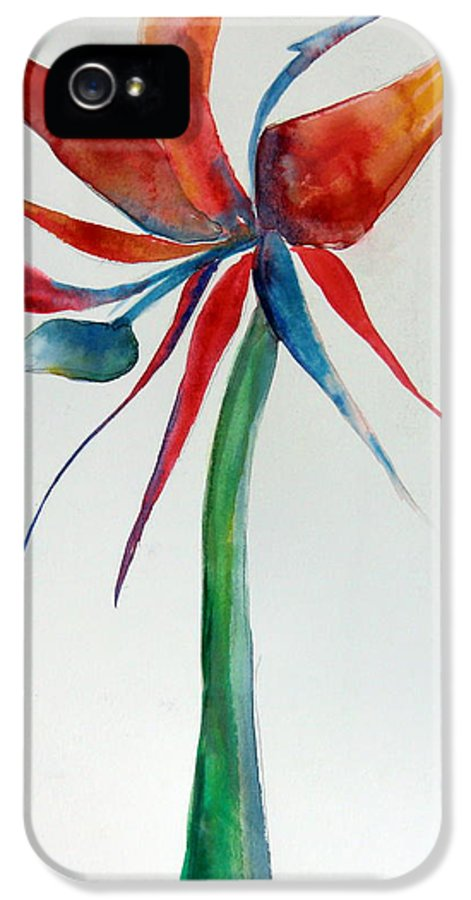 Flower IPhone 5 Case featuring the painting Bird Of Paradise by Mindy Newman