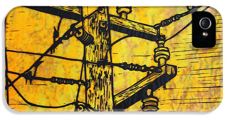 Power IPhone 5 / 5s Case featuring the drawing Power Lines by William Cauthern