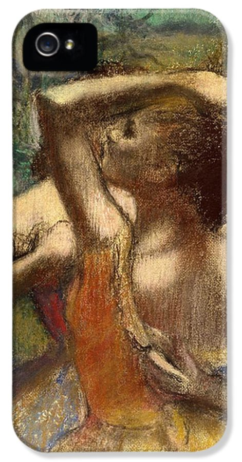 Degas IPhone 5 Case featuring the pastel Dancers by Edgar Degas