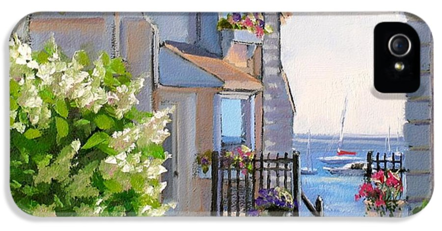 Seascape IPhone 5 Case featuring the painting A Cape Cod Paradise by Laura Lee Zanghetti