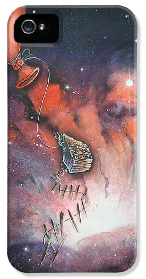 Outer Space IPhone 5 Case featuring the painting A Fraction Of Action by Krystyna Spink