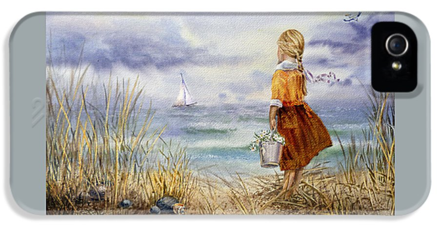 Girl And The Ocean IPhone 5 Case featuring the painting A Girl And The Ocean by Irina Sztukowski