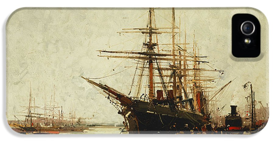 19th Century IPhone 5 Case featuring the painting A Harbor by Eugene Galien-Laloue