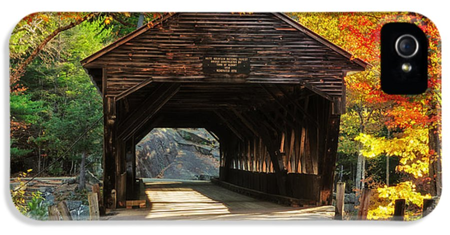 Covered Bridge IPhone 5 / 5s Case featuring the photograph A Kancamagus Gem - Albany Covered Bridge Nh by Thomas Schoeller