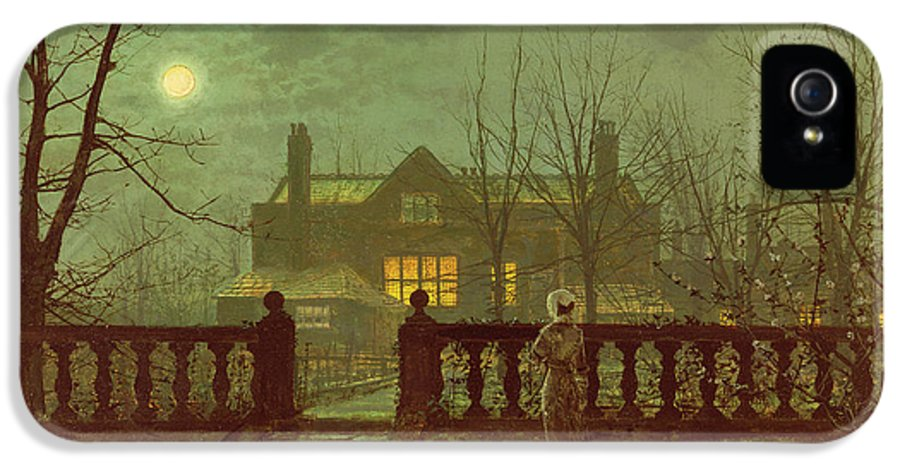 Grimshaw IPhone 5 Case featuring the painting A Lady In A Garden By Moonlight by John Atkinson Grimshaw