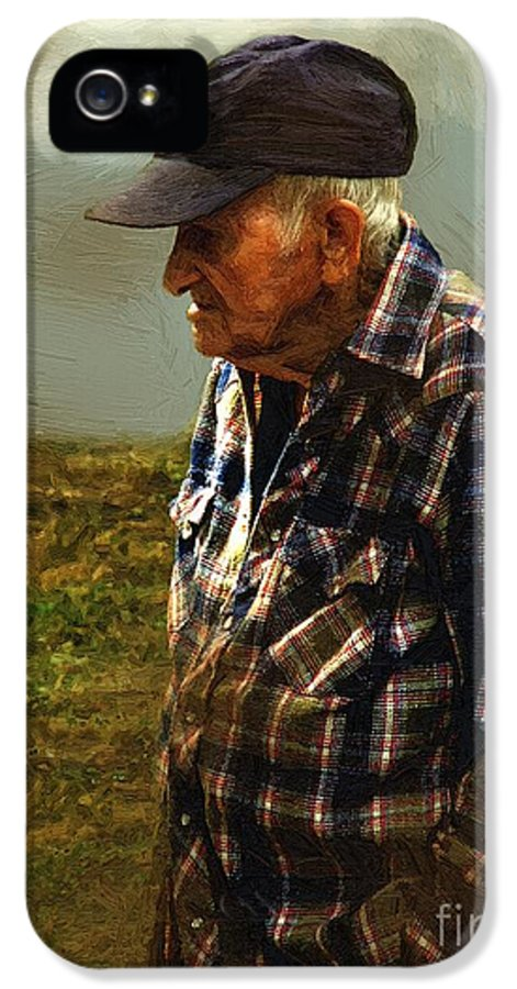 Farmer IPhone 5 Case featuring the painting A Lifetime In The Fields by RC deWinter