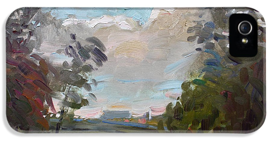 Rainy Day IPhone 5 Case featuring the painting A Little Break From The Rain by Ylli Haruni