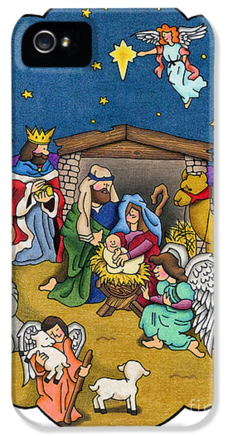 Angels IPhone 5 Case featuring the painting A Nativity Scene by Sarah Batalka