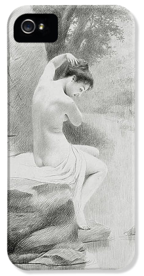 Nymph; Female; Woman; Seated; Sitting; Riverbank; Stream; River; Washing; Cleansing; Bathing; Ethereal; Silvery; Hue; Atmospheric; Surreal; Dreamlike; Nude; Lightness; Silver; Neoclassical; Classical; Neo-classical; Figure; Utopia; Utopian; Idealised; Romantic; Nude IPhone 5 Case featuring the drawing A Nymph by Charles Prosper Sainton