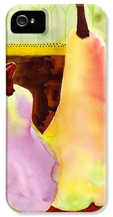 Art IPhone 5 Case featuring the painting A Pair Of Pears by Blenda Studio