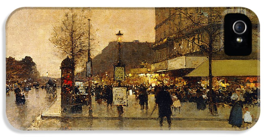 19th Century IPhone 5 Case featuring the painting A Parisian Street Scene by Eugene Galien-Laloue