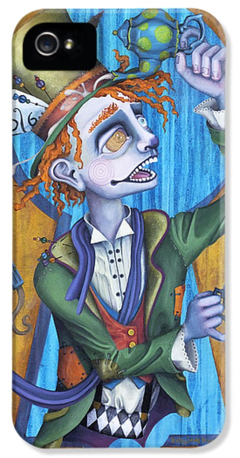 Hatter IPhone 5 Case featuring the painting A Raven And A Writing Desk by Kelly Jade King