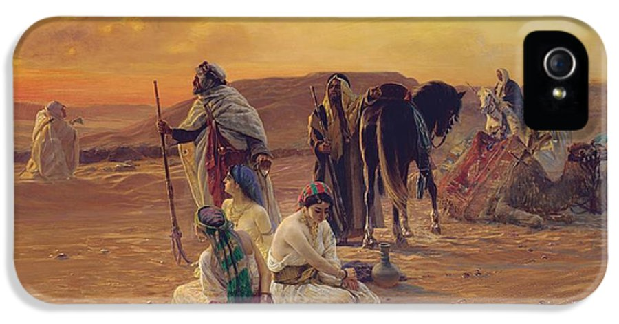 Rest IPhone 5 Case featuring the painting A Rest In The Desert by Otto Pilny