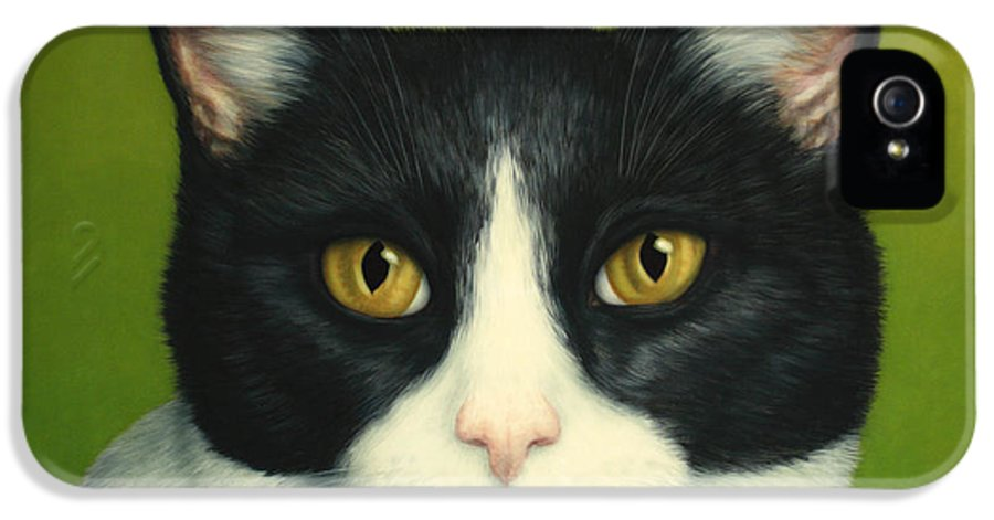 Serious IPhone 5 Case featuring the painting A Serious Cat by James W Johnson