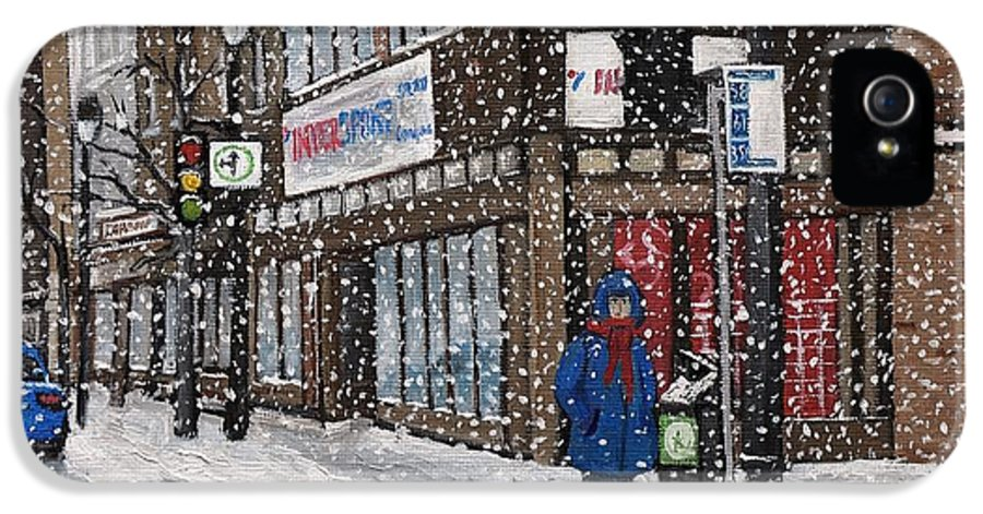 Verdun Winter Scenes IPhone 5 Case featuring the painting A Snowy Day On Wellington by Reb Frost