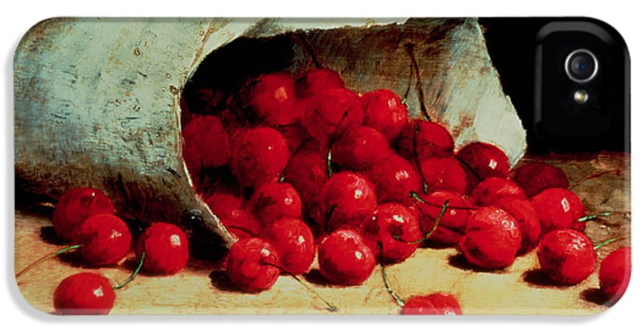 Still Life IPhone 5 Case featuring the painting A Spilled Bag Of Cherries by Antoine Vollon