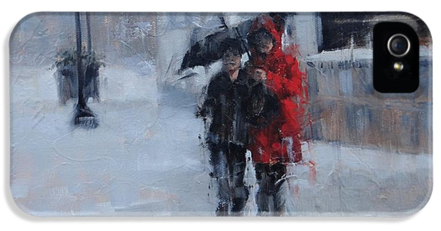 Rainy Day IPhone 5 Case featuring the painting A Stroll In The Rain by Laura Lee Zanghetti