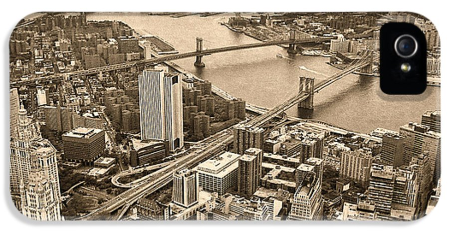 Nyc IPhone 5 Case featuring the photograph A Tale Of Two Bridges 2 by Joann Vitali