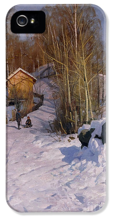 1918 IPhone 5 Case featuring the painting A Winter Landscape With Children Sledging by Peder Monsted