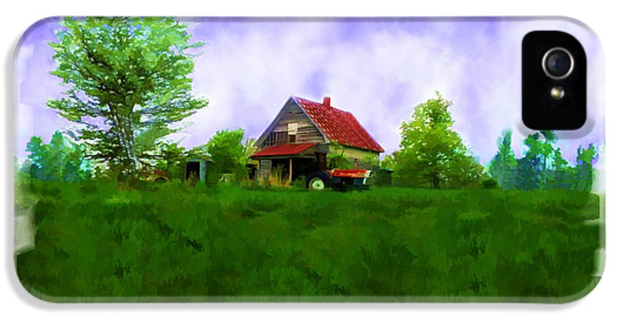 House IPhone 5 Case featuring the photograph Abandond Farm House Digital Paint by Debbie Portwood