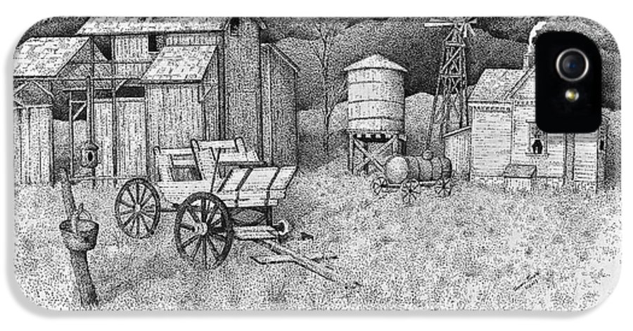 Pen And Ink Old Farm Drawing IPhone 5 Case featuring the drawing Abandoned Old Farmhouse And Barn by Tammie Temple