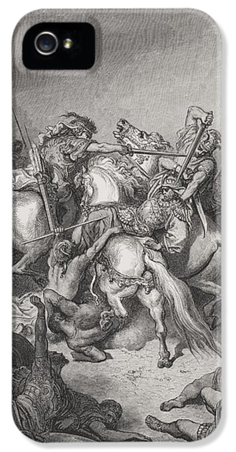 Mounted IPhone 5 Case featuring the painting Abishai Saves The Life Of David by Gustave Dore