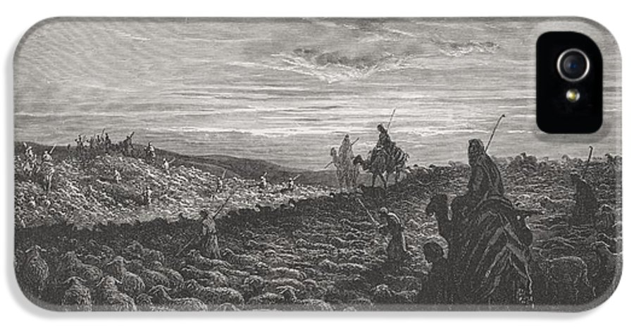 Herding IPhone 5 Case featuring the painting Abraham Journeying Into The Land Of Canaan by Gustave Dore
