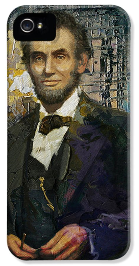 Abraham Lincoln IPhone 5 Case featuring the painting Abraham Lincoln 07 by Corporate Art Task Force