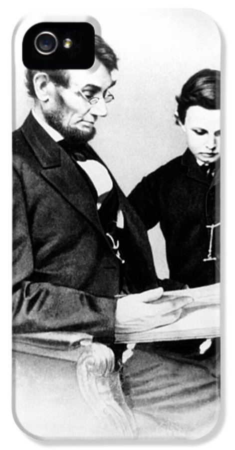 Vertical IPhone 5 Case featuring the photograph Abraham Lincoln And Tad by Anonymous