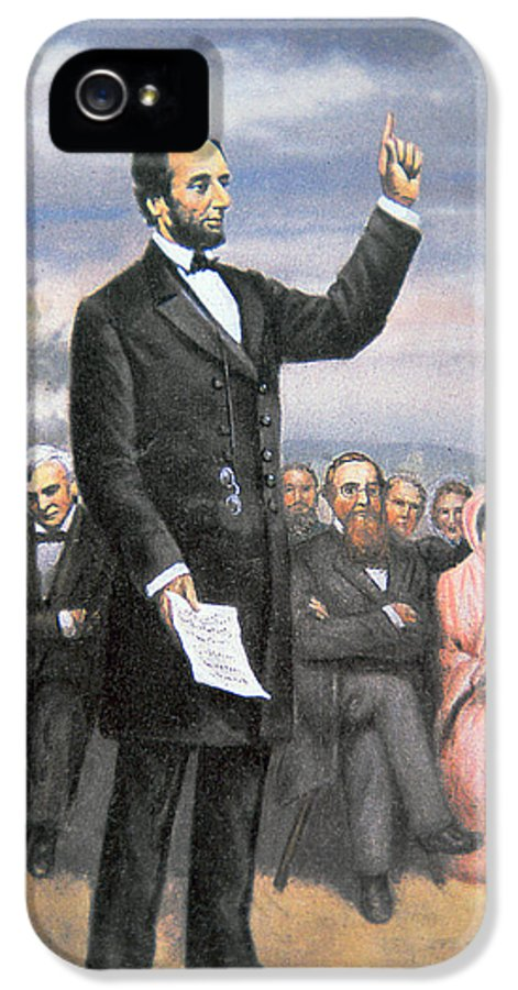 16th President Of The United States IPhone 5 Case featuring the painting Abraham Lincoln Delivering The Gettysburg Address by American School