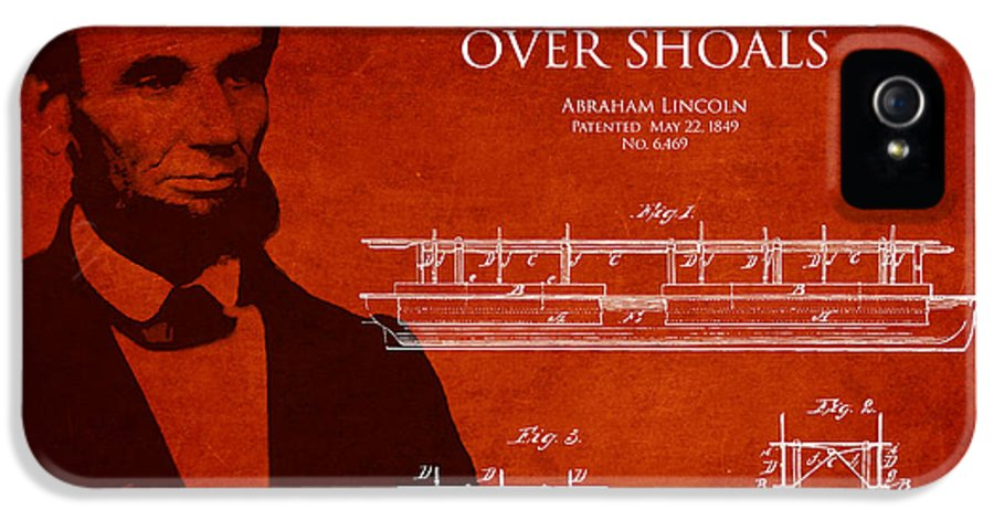 Abraham Lincoln IPhone 5 Case featuring the drawing Abraham Lincoln Patent From 1849 by Aged Pixel
