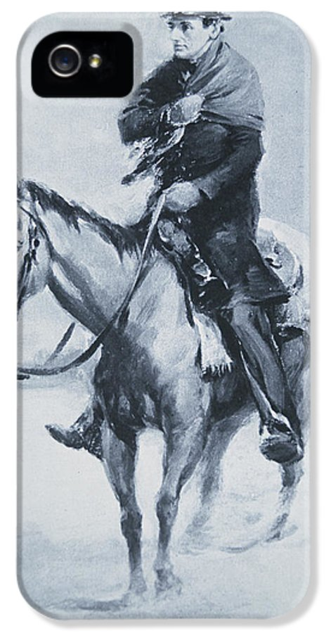 Mounted IPhone 5 Case featuring the painting Abraham Lincoln Riding His Judicial Circuit by Louis Bonhajo