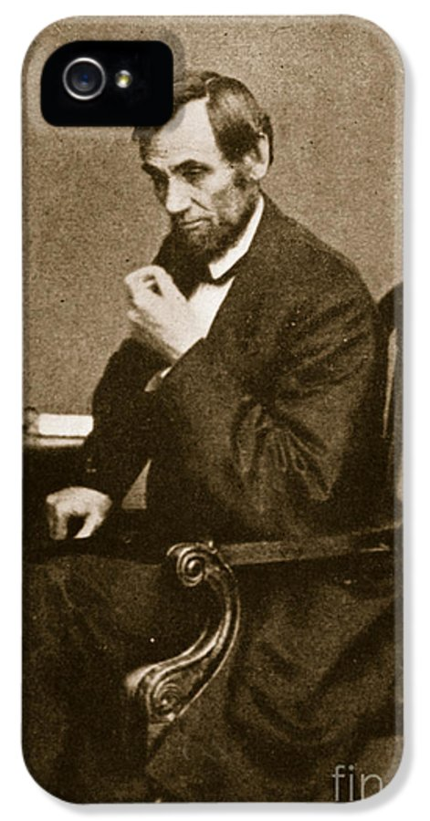 Male IPhone 5 Case featuring the photograph Abraham Lincoln Sitting At Desk by Mathew Brady