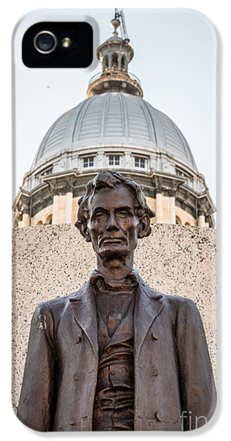 Abraham IPhone 5 Case featuring the photograph Abraham Lincoln Statue At Illinois State Capitol by Paul Velgos