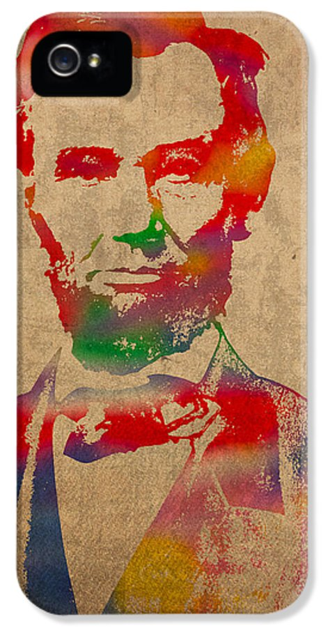 Abraham Lincoln President Watercolor Portrait On Worn Distressed Canvas IPhone 5 / 5s Case featuring the mixed media Abraham Lincoln Watercolor Portrait On Worn Distressed Canvas by Design Turnpike