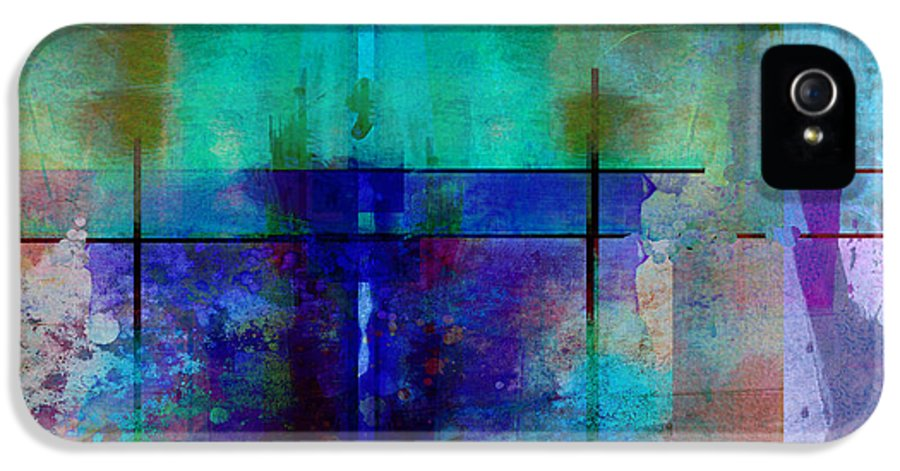 Abstract IPhone 5 Case featuring the digital art abstract - art- Rhapsody in Blue by Ann Powell