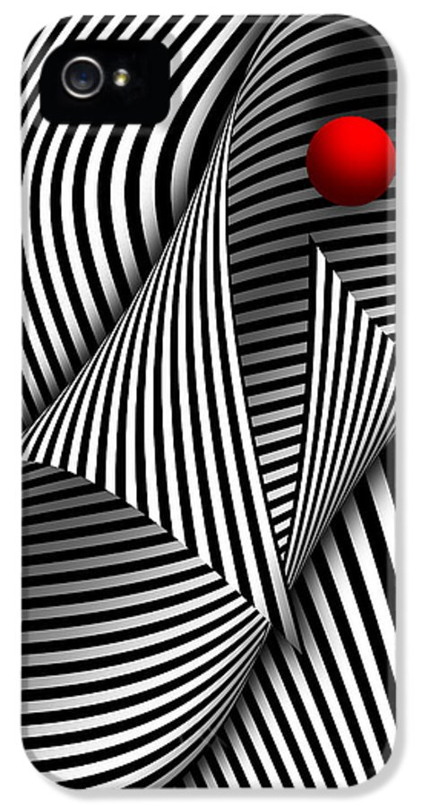 Lines IPhone 5 Case featuring the digital art Abstract - Catch The Red Ball by Mike Savad