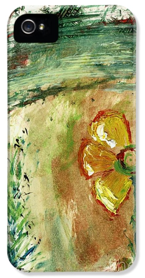 Daisy Flower Plant Broken Missing Petals Cathy Peterson Ventura California Listed Artist Watercolor Oil Paint Painting Modern Contemporary Impressionist Impressionism Expressionist Abstract Realism Minimalism Rural Scenes Fantasy Original Works Pen Pencil Graphic Colored Pencils India Ink Gouache Mixed Media House Coffee Fine Design Oeuvre Printmaking Westmont College Santa Barbara Cloth Panels Paper Drawings Sketches Experimental Ideas Dekalb 1964 Painter Interpretive Art IPhone 5 Case featuring the painting Abstract Daisy by Cathy Peterson
