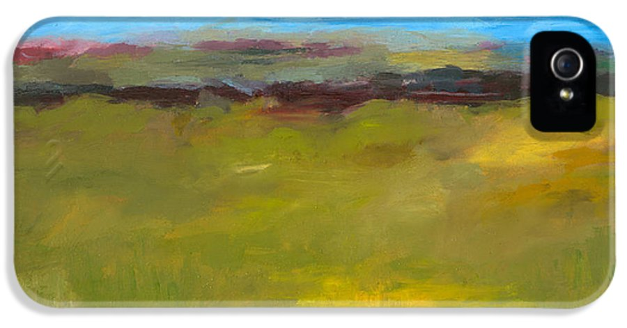 Abstract Expressionism IPhone 5 Case featuring the painting Abstract Landscape - The Highway Series by Michelle Calkins
