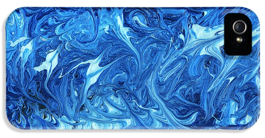 Abstract IPhone 5 Case featuring the painting Abstract - Nail Polish - Ocean Deep by Mike Savad