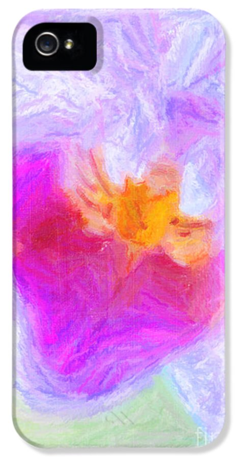 Macro IPhone 5 Case featuring the digital art Abstract Orchid Pastel by Antony McAulay