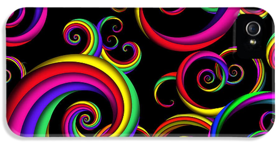 Abstract IPhone 5 Case featuring the digital art Abstract - Spirals - Inside A Clown by Mike Savad