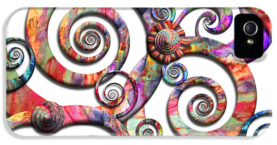 Abstract IPhone 5 Case featuring the digital art Abstract - Spirals - Wonderland by Mike Savad