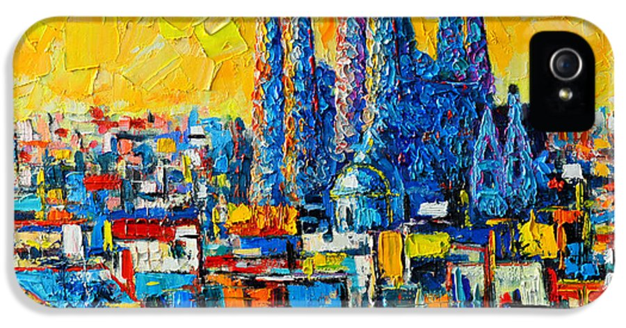 Sagrada IPhone 5 Case featuring the painting Abstract Sunset Over Sagrada Familia In Barcelona by Ana Maria Edulescu