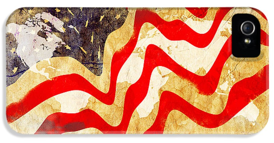 Usa IPhone 5 Case featuring the painting Abstract Usa Flag by Stefano Senise
