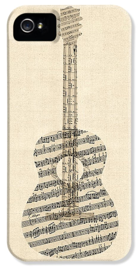 Acoustic Guitar IPhone 5 Case featuring the digital art Acoustic Guitar Old Sheet Music by Michael Tompsett