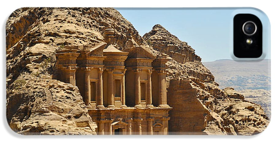 Ad Deir IPhone 5 Case featuring the pyrography Ad Deir In Petra by Jelena Jovanovic